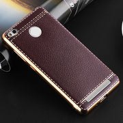 Luxury Plating TPU Soft Leather Cover For Xiaomi Redmi 3 3s 3x Pro Electroplating Frame Fashion Mobile Phone Case Coque Capa