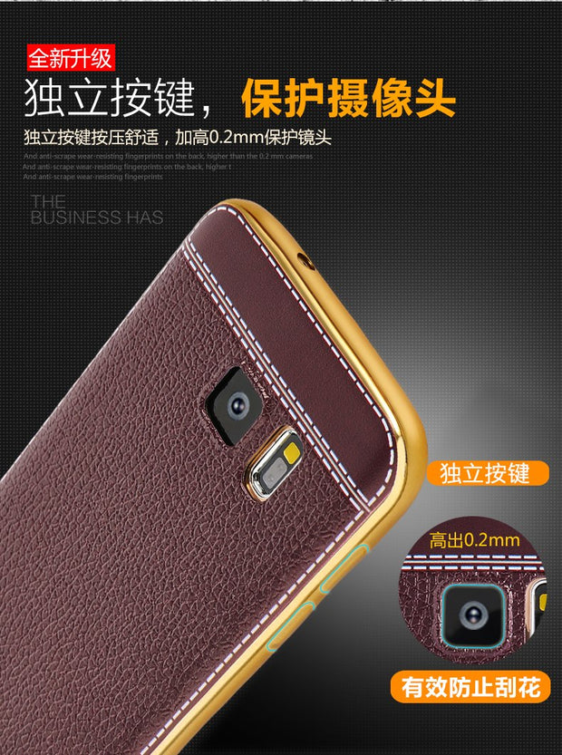 Luxury Plating TPU Soft Leather Mobile Phone Case For Samsung Galaxy S7 / S7 Edge Electroplating Frame Cover Mobile Phone Bag
