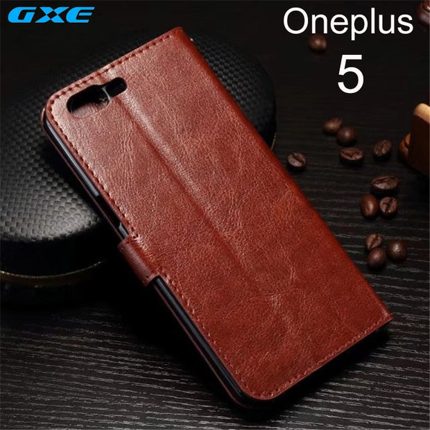 Luxury Retro PU Leather Case For OnePlus 5 Wallet Flip Stand Cover Card Slots Mobile Phone Case For OnePlus 5 Coque Fundas