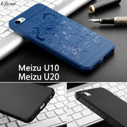 Luxury Silicon Case For Meizu U10 U20 3D Carved Dragon Back Cover For Meizu U20 Case Full Protective Shockproof Phone Bags