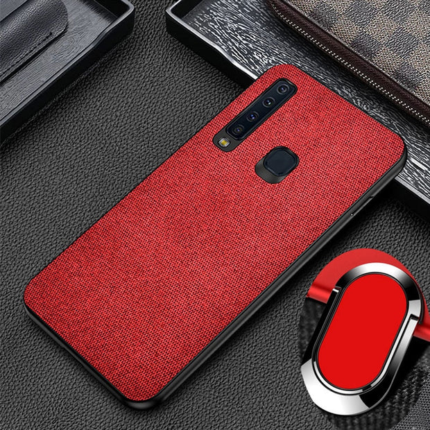 Luxury Splice Fabric Canvas Leather Case For Samsung Galaxy A9 2018 Case PC Hard Back Cover A9s A9 Star Pro Magnetic Ring Holder