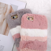 Luxury Warm Rabbit Fur Plush Phone Case For IPhone X 6 6S Plus 7 7Plus 8 8Plus Lovely Splice Cute Furry Soft TPU Hair Back Cover
