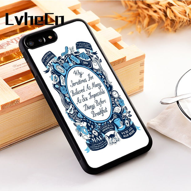 LvheCn 5 5S SE Phone Cover Cases For Iphone 6 6S 7 8 Plus X Xs Max XR Soft Silicon TPU ALICE IN WONDERLAND QUOTE