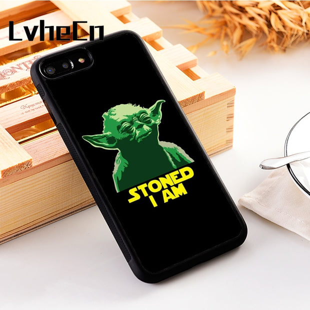 LvheCn 5 5S SE Phone Cover Cases For Iphone 6 6S 7 8 Plus X Xs Max XR Soft Silicon TPU FUNNY YODA WEED QUOTE