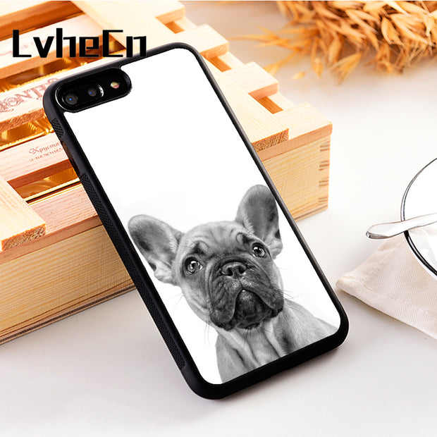 LvheCn 5 5S SE Phone Cover Cases For Iphone 6 6S 7 8 Plus X Xs Max XR Soft Silicon TPU FRENCH BULLDOG ILLUSTRATION