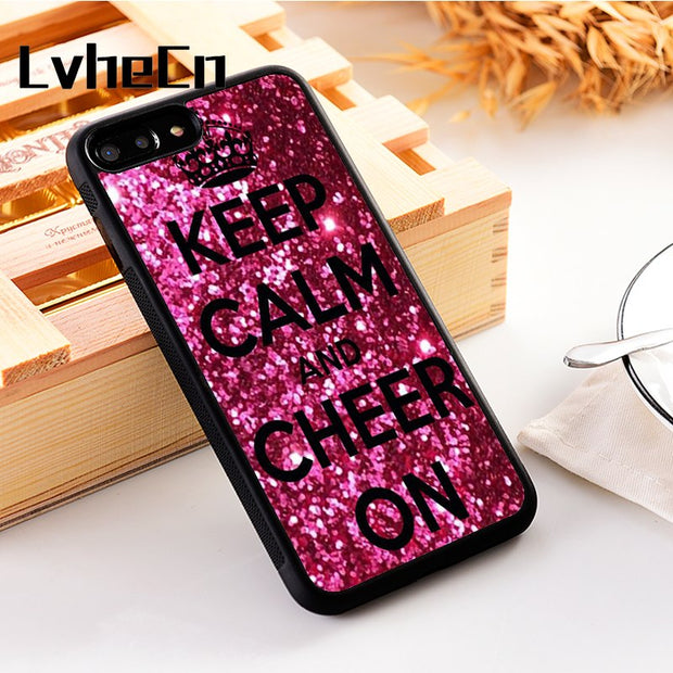 LvheCn 5 5S SE Phone Cover Cases For Iphone 6 6S 7 8 Plus X Xs Max XR Soft Silicon TPU Keep Calm And Cheer On Cheerleading