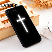 LvheCn 5 5S SE Phone Cover Cases For Iphone 6 6S 7 8 Plus X Xs Max XR Soft Silicon TPU RADIATING CROSS RELIGION