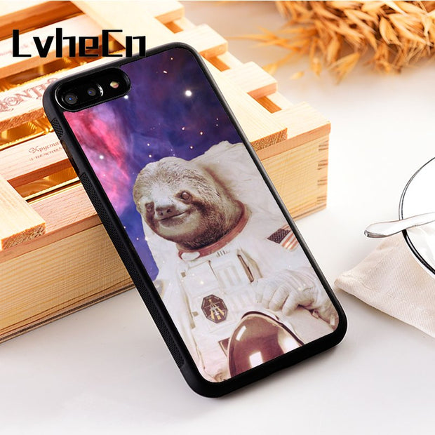 LvheCn 5 5S SE Phone Cover Cases For Iphone 6 6S 7 8 Plus X Xs Max XR Soft Silicon TPU Space Sloth Astronaut Funny