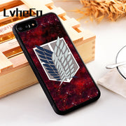 LvheCn 5 5S SE Phone Cover Cases For Iphone 6 6S 7 8 Plus X Xs Max XR Silicon Attack On Titan Shingeki No Kyojin Anime Badge
