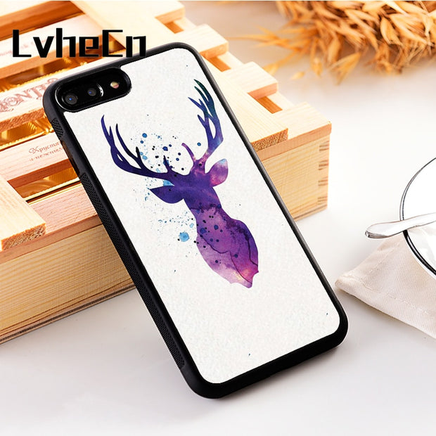 LvheCn 5 5S SE Phone Cover Cases For Iphone 6 6S 7 8 Plus X Xs Max XR Soft Silicon TPU PURPLE STAG ART POTTER
