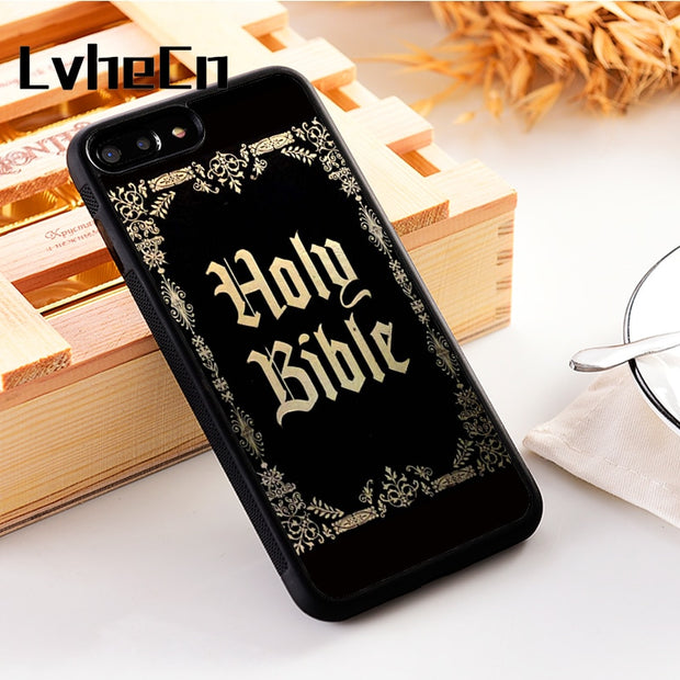 LvheCn 5 5S SE Phone Cover Cases For Iphone 6 6S 7 8 Plus X Xs Max XR Soft Silicon TPU HOLY BIBLE