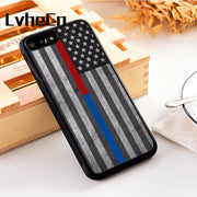 LvheCn 5 5S SE Phone Cover Cases For Iphone 6 6S 7 8 Plus X Xs Max XR Soft Silicon TPU Thin Blue & Red Line Police Firefighter