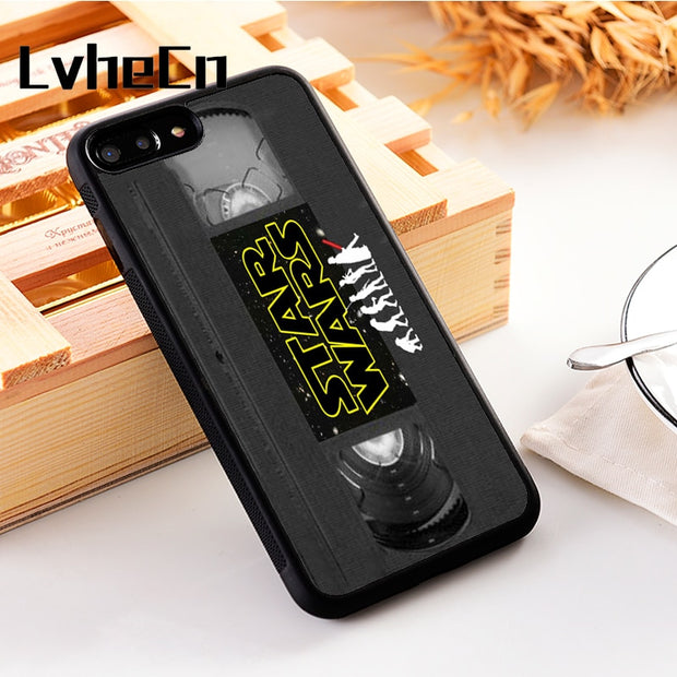 LvheCn 5 5S SE Phone Cover Cases For Iphone 6 6S 7 8 Plus X Xs Max XR Soft Silicon TPU Star Wars Evolution VHS Vintage