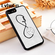LvheCn 5 5S SE Phone Cover Cases For Iphone 6 6S 7 8 Plus X Xs Max XR Soft Silicon TPU Volleyball Infinity Love