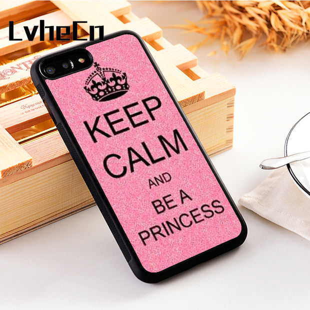 LvheCn 5 5S SE Phone Cover Cases For Iphone 6 6S 7 8 Plus X Xs Max XR Soft Silicon TPU Keep Calm And Be A Princess Glitter Bling