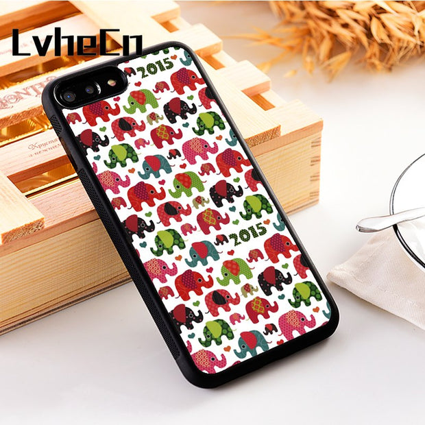 LvheCn 5 5S SE Phone Cover Cases For Iphone 6 6S 7 8 Plus X Xs Max XR Soft Silicon TPU Pink Elephant Colourful Cute Pattern
