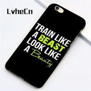 LvheCn 5 5S SE Phone Cover Cases For Iphone 6 6S 7 8 Plus X Back Skin Shell Gym Fitness Training Workout