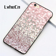 LvheCn 5 5S SE Phone Cover Cases For Iphone 6 6S 7 8 Plus X Back Skin Shell Girly Pink Snowfall