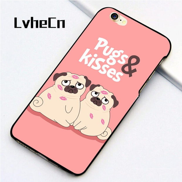 LvheCn 5 5S SE Phone Cover Cases For Iphone 6 6S 7 8 Plus X Back Skin Shell Girly Pink PUG Kiss