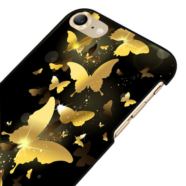 LvheCn 5 5S SE Phone Cover Cases For Iphone 6 6S 7 8 Plus X Back Skin Shell Golden Butterflies