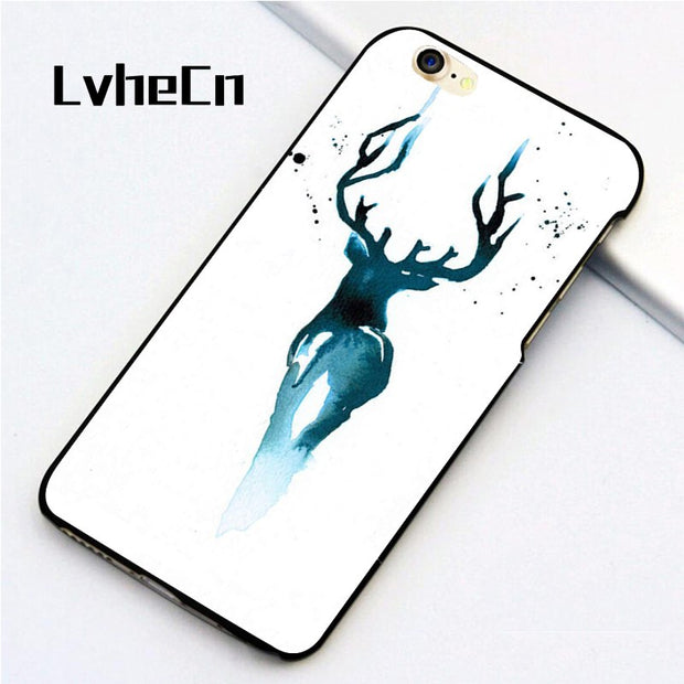 LvheCn 5 5S SE Phone Cover Cases For Iphone 6 6S 7 8 Plus X Back Skin Shell BLUE STAG HARRY POTTER