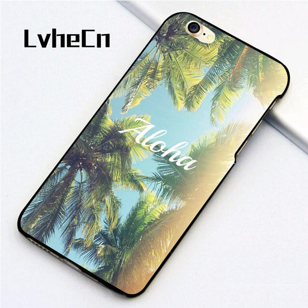 LvheCn 5 5S SE Phone Cover Cases For Iphone 6 6S 7 8 Plus X Back Skin Shell Hawaii Tropical Palms Tree Aloha Printed