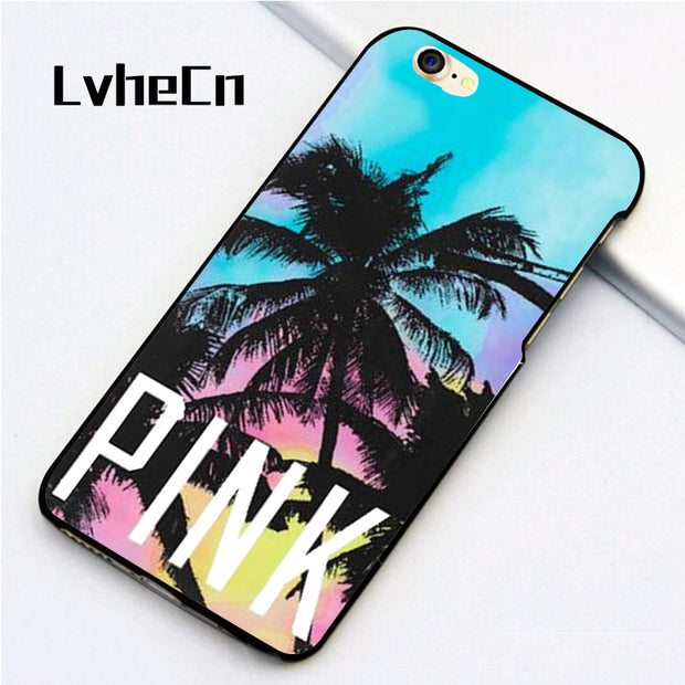LvheCn 5 5S SE Phone Cover Cases For Iphone 6 6S 7 8 Plus X Back Skin Shell Good Tropical Scenery Palm Trees Coconut Love Pink