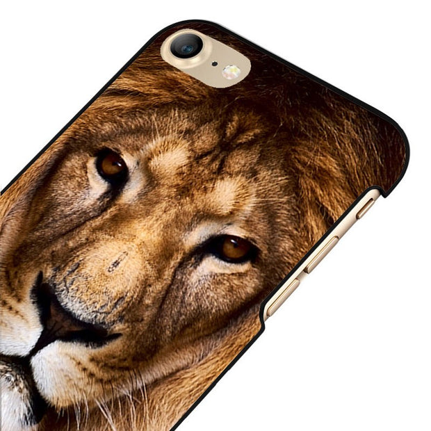 LvheCn 5 5S SE Phone Cover Cases For Iphone 6 6S 7 8 Plus X Back Skin Shell Gloden Lion Animal
