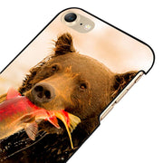 LvheCn 5 5S SE Phone Cover Cases For Iphone 6 6S 7 8 Plus X Back Skin Shell GRIZZLY BEAR FISH
