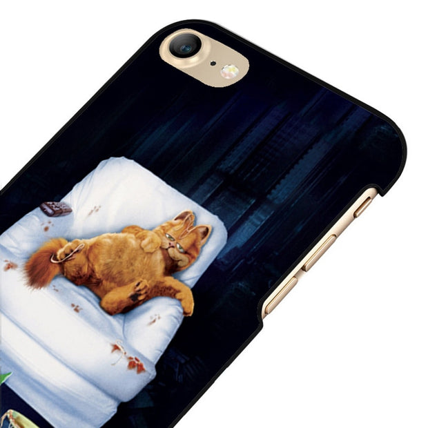 LvheCn 5 5S SE Phone Cover Cases For Iphone 6 6S 7 8 Plus X Back Skin Shell Garfield Cat Funny Cartoon