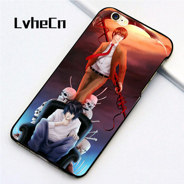 LvheCn 5 5S SE Phone Cover Cases For Iphone 6 6S 7 8 Plus X Back Skin Shell DEATH NOTE ANIME ART BLACK
