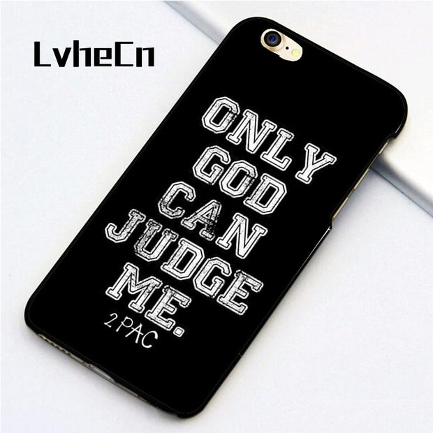 LvheCn 5 5S SE Phone Cover Cases For Iphone 6 6S 7 8 Plus X Back Skin Shell God Judge 2PAC Tupac