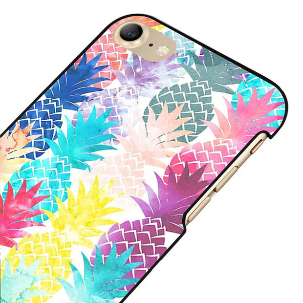 LvheCn 5 5S SE Phone Cover Cases For Iphone 6 6S 7 8 Plus X Back Skin Shell Hawaiian Pineapple Pattern Tropical Watercolor