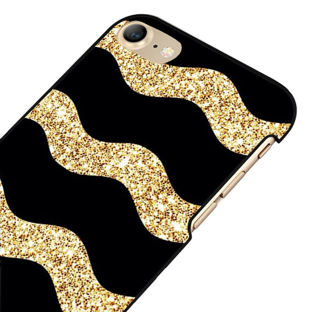 LvheCn 5 5S SE Phone Cover Cases For Iphone 6 6S 7 8 Plus X Back Skin Shell Gold Glitter Sparkles Pattern