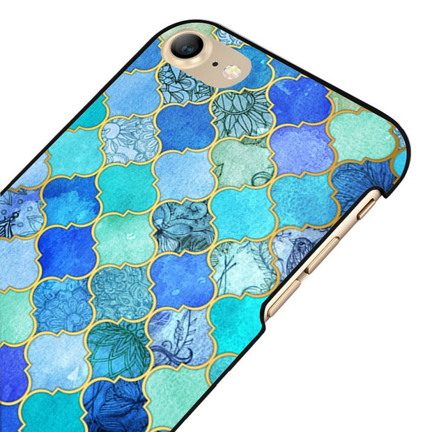 LvheCn 5 5S SE Phone Cover Cases For Iphone 6 6S 7 8 Plus X Back Skin Shell Blue Aqua & Gold Decorative Pattern