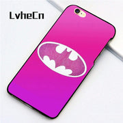 LvheCn 5 5S SE Phone Cover Cases For Iphone 6 6S 7 8 Plus X Back Skin Shell Glitter Pink Batman