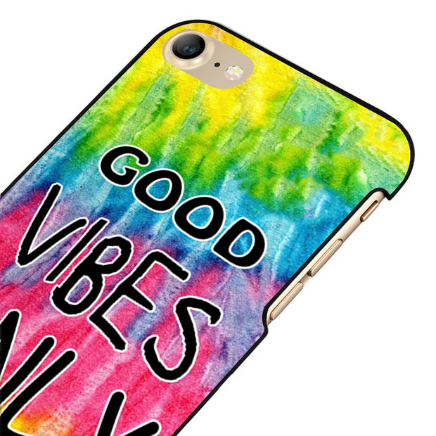 LvheCn 5 5S SE Phone Cover Cases For Iphone 6 6S 7 8 Plus X Back Skin Shell Good Vibes Tie Dye