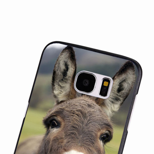 LvheCn Phone Case Cover For Samsung Galaxy S3 S4 S5 Mini S6 S7 S8 Edge Plus Note2 3 4 5 7 8 Cute Donkey Big Ears Mule