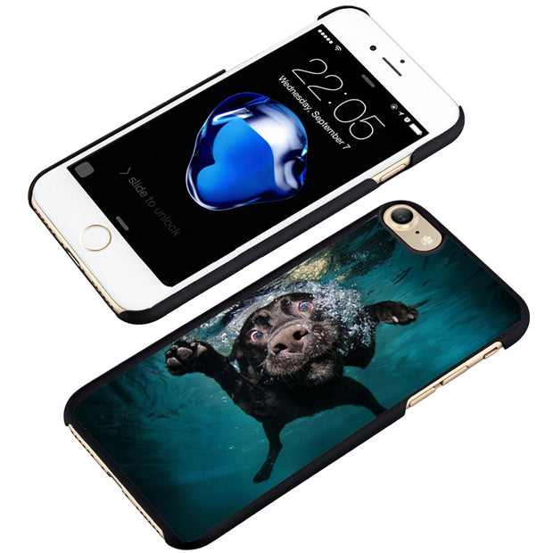 LvheCn Phone Case Cover Fit For IPhone 4 4s 5 5s 5c SE 6 6s 7 8 Plus X Ipod Touch 4 5 6 Funny Dog Labrador Underwater Swimming
