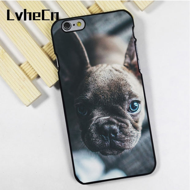 LvheCn Phone Case Cover Fit For IPhone 4 4s 5 5s 5c SE 6 6s 7 8 Plus X Ipod Touch 4 5 6 French Bull Dog Blue Eyes Cute Puppy