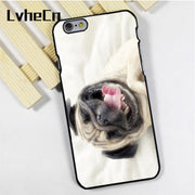 LvheCn Phone Case Cover Fit For IPhone 4 4s 5 5s 5c SE 6 6s 7 8 Plus X Ipod Touch 4 5 6 Funny Dog Pug Puppy