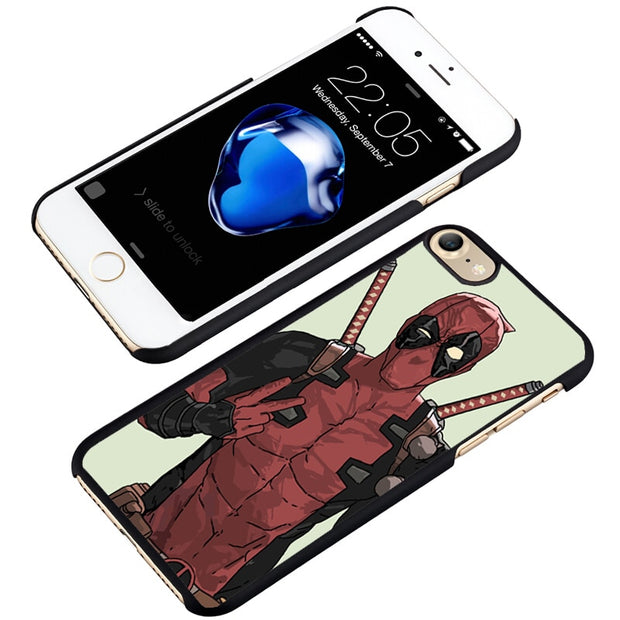 LvheCn Phone Case Cover Fit For IPhone 4 4s 5 5s 5c SE 6 6s 7 8 Plus X Ipod Touch 4 5 6 Funny Deadpool Superhero Swearing Marvel