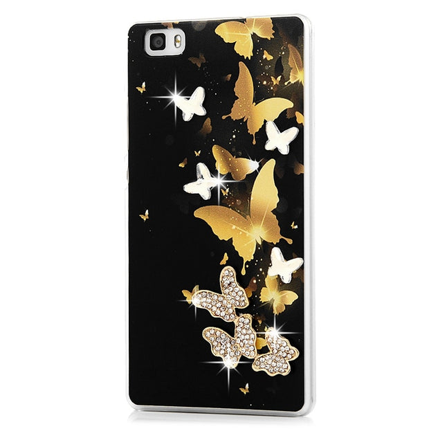 MAVISSDIARY Rhinestone Case For Huawei P8 Lite Luxury Glitter Crystal Diamond Slim Clear PC Back Cover For Huawei P8 Lite