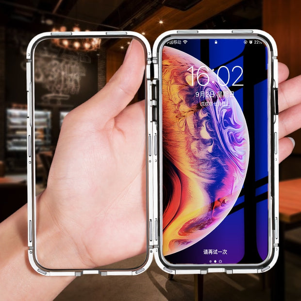 Magnetic Adsorption Flip Case For IPhone X Xs Max High Quality Tempered Glass Back Cover Luxury Metal Bumpers Case For IPhone 8