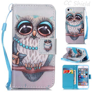 Magnetic Flip Case For Apple IPhone SE 5 5S IPhone5 Fashion Luxury Painting PU Leather Case Card Slot Stand Wallet Phone Cover