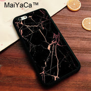 MaiYaCa Black With Rose Gold Marble Printed Soft TPU Case For Iphone 8 Soft Rubber Phone Case For IPhone 8 Bags Fundas Cover