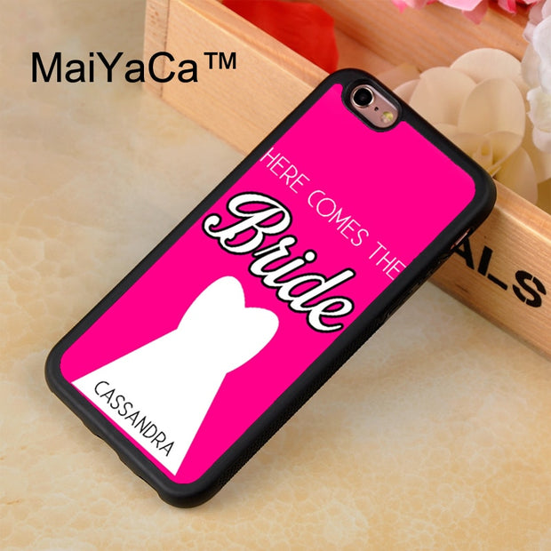 MaiYaCa Custom Name Bride Wedding Printed Phone Case For IPhone 8 Capa Fundas New Case For Apple Iphone 8 Back Shell Cover
