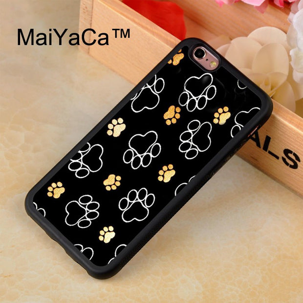 MaiYaCa Cute Paws Paw Pattern Dog Printed Phone Case For IPhone 8 Capa Fundas New Case For Apple Iphone 8 Back Shell Cover