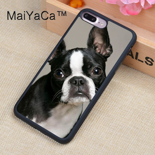 MaiYaCa Funny Boston Terrier Dog Case For IPhone 8 Plus Coque TPU Phone Back Cover For IPhone 8Plus Bags Skin Cover