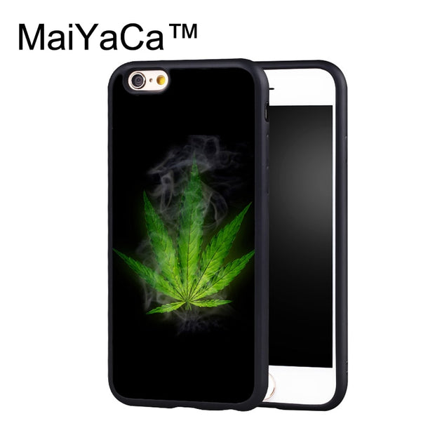 MaiYaCa Green Weed Leaf Smoke Case For IPhone 6 Plus Coque TPU Phone Back Cover For IPhone 6S Plus Bags Shell Cover